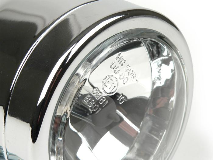 Zusatz Scheinwerfer Roller Motorrad UNIVERSAL Glas chrom