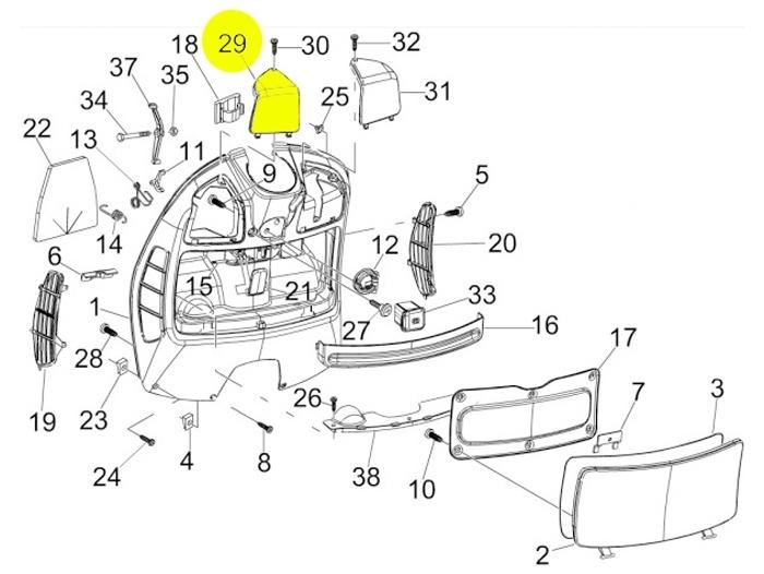 Kappe Innenverkleidung PIAGGIO Vespa GT GTL GTS GTV links