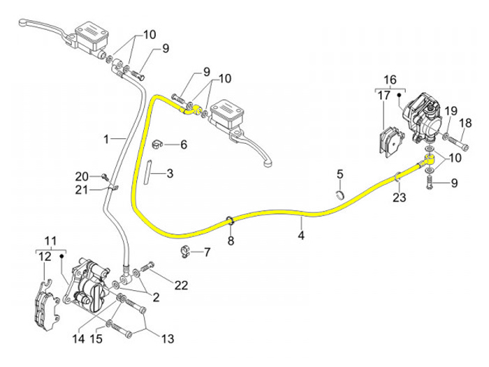 Bremsleitung hinten PIAGGIO Vespa GTS 250 GTS 125 i.e. GTS